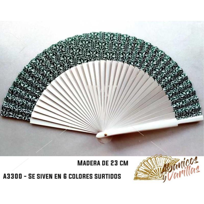 Leques de madeira de 23 cm servidos em 6 cores sortidas e tecidos que combinam com a cor do leque