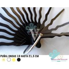 Varetas Leques P18 cm ó 21,5 cm Punhal Ondas - Preta