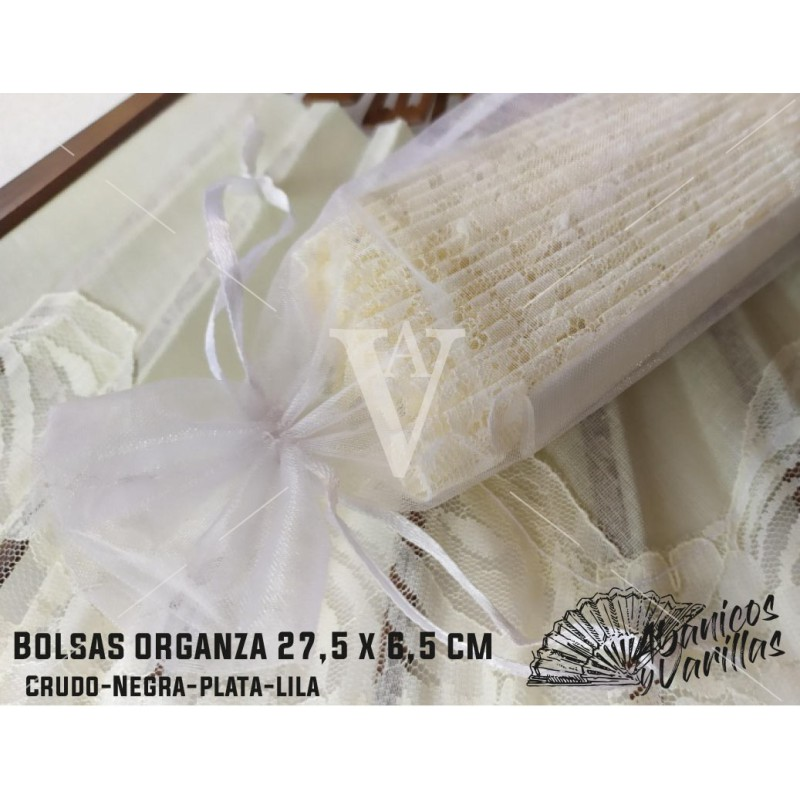 Sacos Organza 27,5 x 6,5 cm para Leques