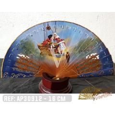 Abanico Madera Sipo, pintado a mano cuadro