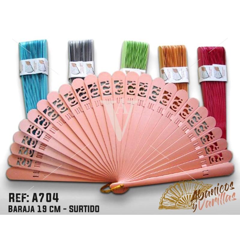 Abanico Baraja de 19 cm. Colores Surtidos