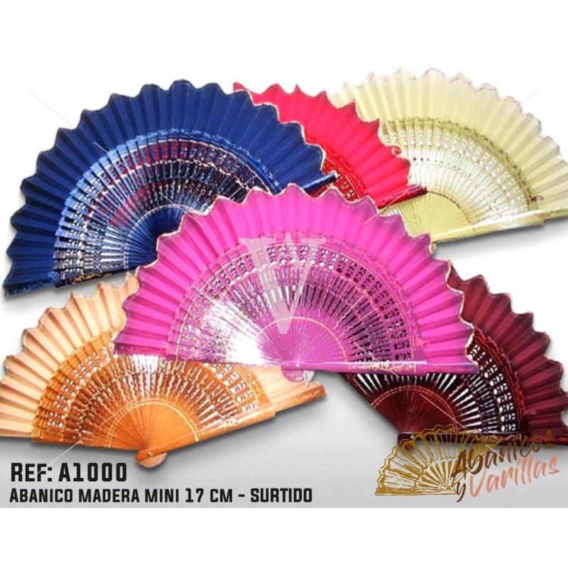 Abanico Madera de 17 cm en colores surtidos