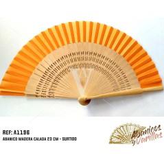 Abanico de Madera 23 cm - Naranja