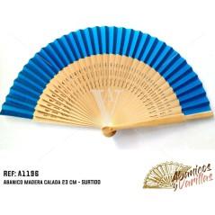 Leque madeira 23 cm - Azul