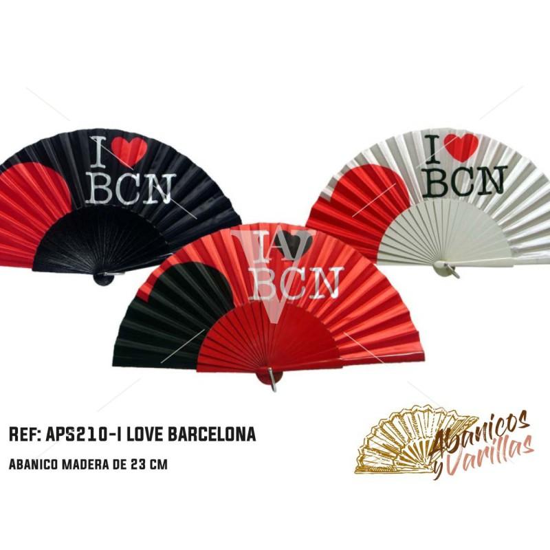 Abanico souvenir barcelona. I LOVE BARCELONA de 23 cm
