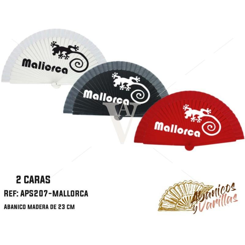 Abanico pintado 2 caras souvenir - Mallorca 23 cm