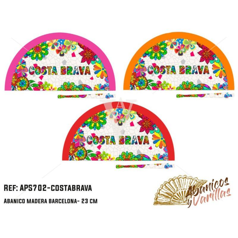 Leque pintado em acrilico com disenhod para souvenir Costa Brava