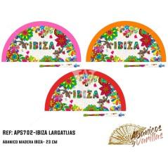 Abanico para souvenir de Ibiza con lagartija