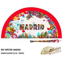 Leque  pintado em acrilico com disenhos para souvenir de Madrid