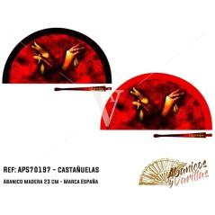Leques de 23 cm com pinturas acrílicas de castanholas