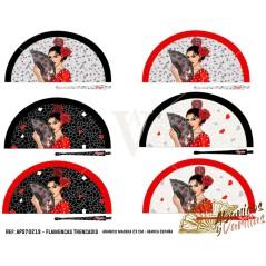 Leque acrilico flamencas Trencadis 23 cm