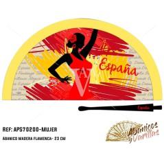 Abanicos de madera 23 cm servidos en 3 colores surtidas de mujer flamenca