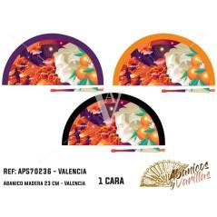 Abanico  en Acrilico pintado con diseños falleros para souvenir de Valencia