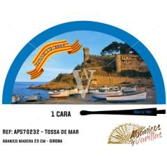 Abanico de 23 cm en acrílico para souvenir de Tossa de Mar