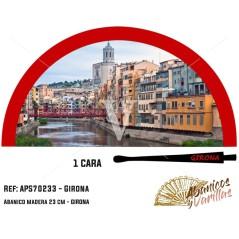 Abanico para souvenir de Girona de 23 cm pintado en acrilico