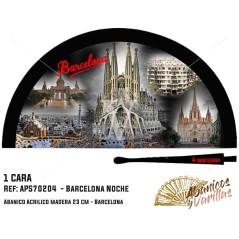 Leque preto para souvenir de Barcelona de noite