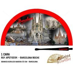 Leque vermelho para souvenir de Barcelona de noite