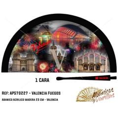 Abanico Negro para souvenir, pintados con imágenes de los fuegos de Valencia