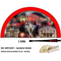 Abanico Rojo para souvenir, pintados con imágenes de los fuegos de Valencia