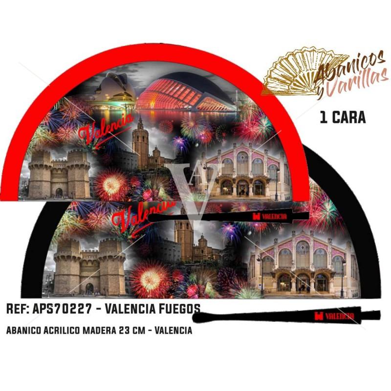 Abanicos de madera pintados en acrilico con diseños de los Fuegos de Valencia