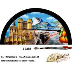 Leque preto de madeira pintado con imagens tipicas da Albufera de Valencia