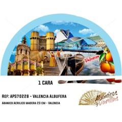 Leque azul de madeira pintado con imagens tipicas da Albufera de Valencia