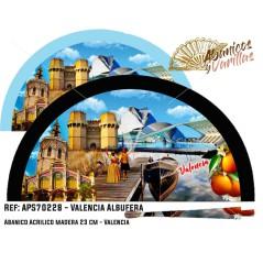 Leques de madeira pintados con imagens tipicas da Albufeira de AValencia