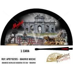 Abanico negro para souvenir de Madrid Noche pintado en acrílico en 2 colores a elegir