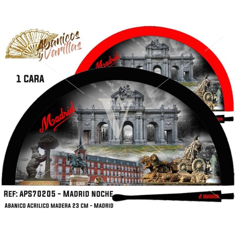 Abanicos para souvenir de Madrid Noche pintados en acrílico en 2 colores a elegir
