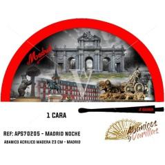 Abanico rojo para souvenir de Madrid Noche pintado en acrílico en 2 colores a elegir