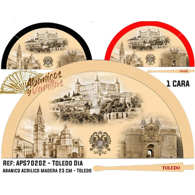 Abanicos para souvenir de Toledo de día. Se sirven en 3 colores surtidos