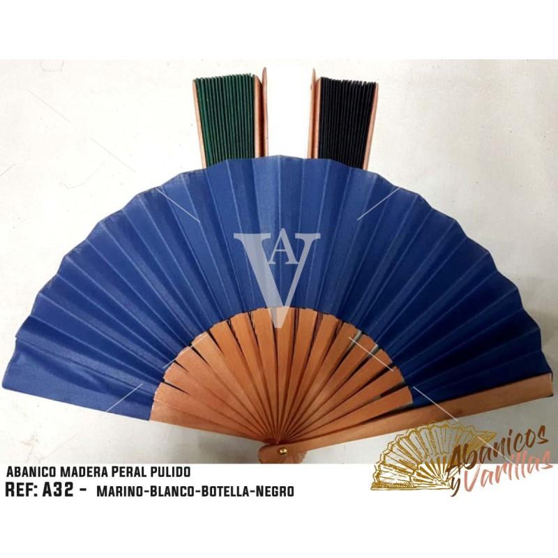 Leque de madeira de pêra polida de 27 cm en varios colores a elegir