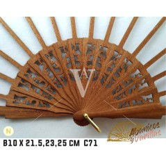 Varilla Abanico de Bubinga de 10 X 21.5 - 23 - 25 cm C71 NATURAL