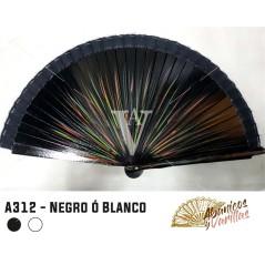 Abanico Negro de 23 cm de madera pintado a 2 caras rallas