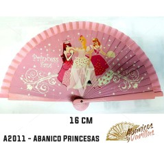 Abanico infantil de 16 cm pintados con diseño de princesas