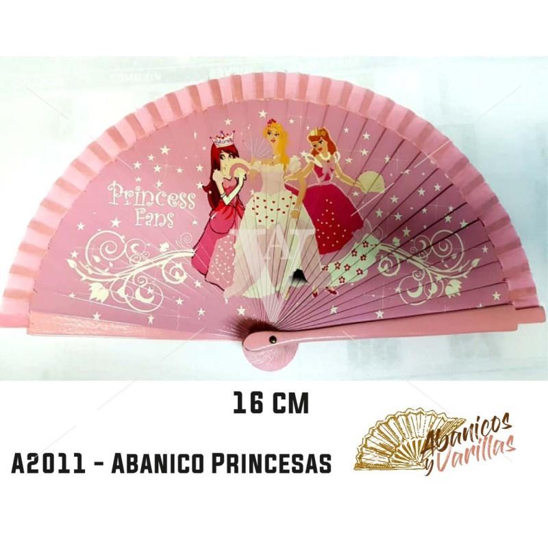 Leque infantil de 15 cm pintados com desenho de princesas
