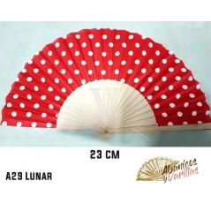 Leques con desenho de toupeiras fabricado em madeira de 23 cm e servidos em cores a escolher