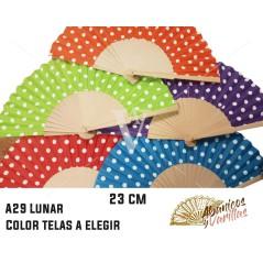 Abanicos de 23 cm con diseño flamenco de lunares en colores a elegir