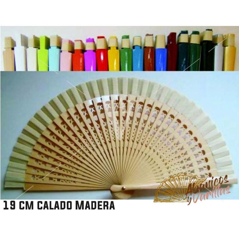 Leques de madeira trabalhada de 23 cm em cores a escolher