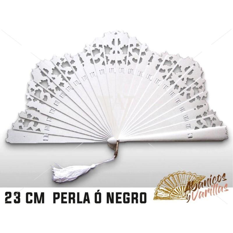 Abanico Baraja 23 cm - Perla