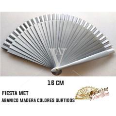 Abanico plata perlado 16 cm en colores perlados surtidos