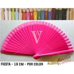 Abanico Fucsia de bolso fabricado en madera de 16 cm en 14 colores a elegir