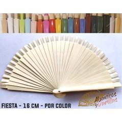 Leque Beige de mala fabricado em madeira de 16 cm em 14 cores a escolher