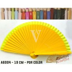 Leques Amarelo para Brindes Casamento Madeira 19 cm Liso