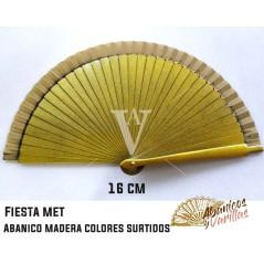 Abanico dorado perlado 16 cm en colores perlados surtidos