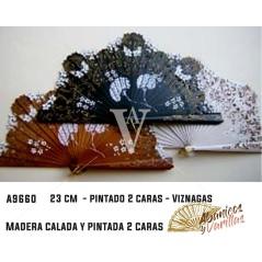 Abanico de 22 cm calado y pintado a 2 caras Viznagas- Natural, blanco o negro