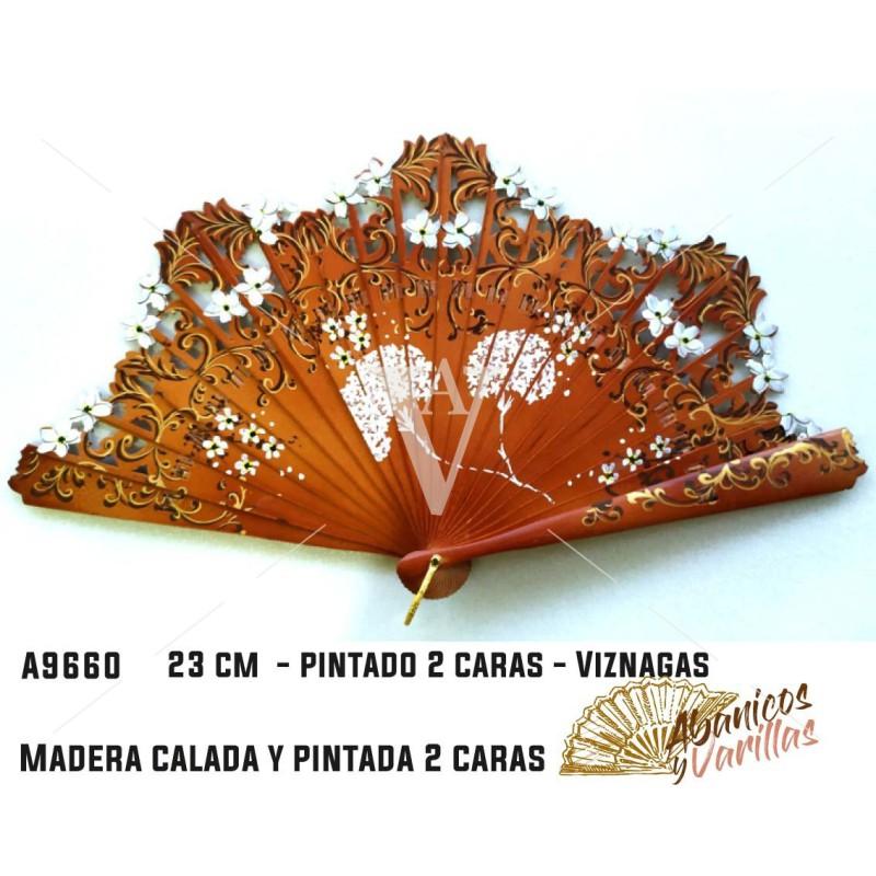 Abanico de 22 cm calado y pintado a 2 caras Viznagas