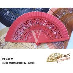 Leque de Madeira de 23 cm pintado com motivos florais a 2 caras - SORTIDO