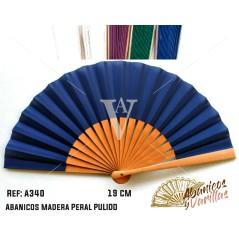 Leque de pereira pulida de 19 cm. 5 colores a elegir