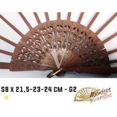 Varetas de Leques S 8 x 21,5 - 23 - 24,5 cm G2 madeira trabalhada e gravada